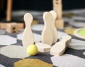 Bowling pins Skittles game Wooden bowling set Eco gift Waldorf Girl gift
