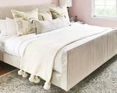 Wool Moroccan Pompom Blanket,bedroom blanket,moroccan throw blanket,pompom blanket, Ivory moroccan throw blanket, Wool Blanket Throw Pom Pom