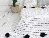 Cotton moroccan Blanket Throw Pom Pom, Moroccan PomPom Bedspread Coverlet, Hand Woven Bed Cover by Berber Artisans on Wooden Looms. Bw47