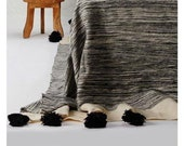 Wool Blanket Throw Pom Pom, Moroccan PomPom Bedspread Coverlet, Hand Woven Bed Cover by Berber Artisans on Wooden Looms. Bw22