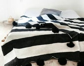 Cotton moroccan Blanket Throw Pom Pom, Moroccan PomPom Bedspread Coverlet, Hand Woven Bed Cover by Berber Artisans on Wooden Looms. Bw38