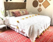 Cotton moroccan Blanket Throw Pom Pom, Moroccan PomPom Bedspread Coverlet, Hand Woven Bed Cover by Berber Artisans on Wooden Looms. Bw42