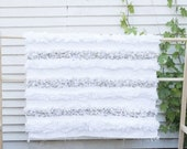 Moroccan Wedding Handira Blanket, Vintage Wedding Blanket White, Hand Woven Bed Cover by Berber Artisans on Wooden Looms. Bw44