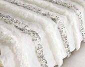 Woven Vintage blanket, Moroccan Wedding Blanket Handira white with Metal Sequins, Moroccan wedding decor, Wedding throw, personalized gifts