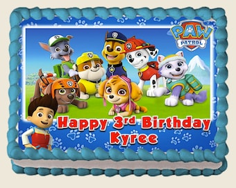 Paw Patrol EDIBLE Cake Topper Frosting Sheet Personalized