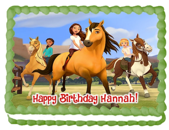 Personalised horse riding birthday edible icing cake topper round decoration