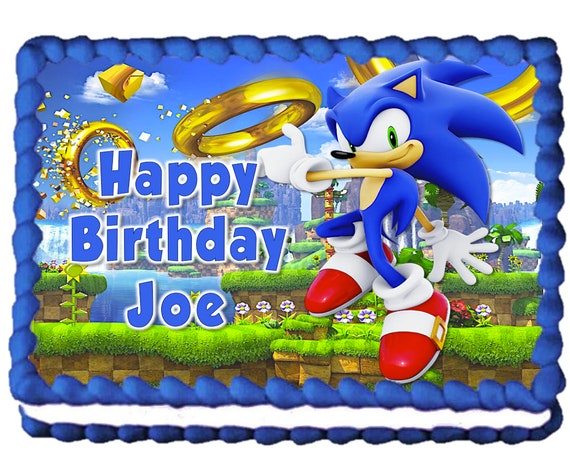 SONIC THE HEDGEHOG CAKE TOPPER PERSONALISED ROUND EDIBLE DECORATION