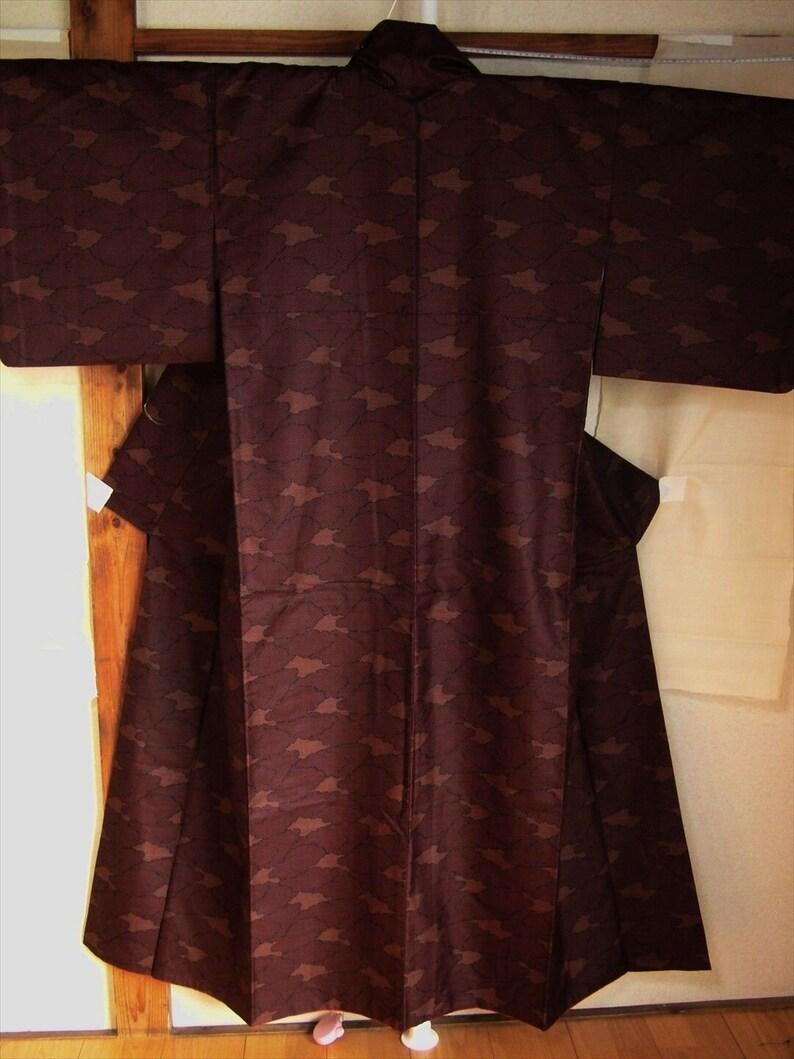 Japanese Vintage Kimono Material unknown Brown aa009 004