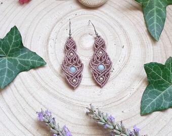 Macramé earrings, Amazonite earrings