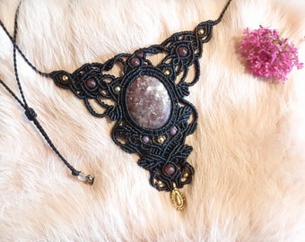 Macramé necklace, Lepidolite necklace