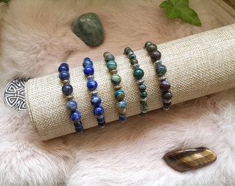 Macramé bracelet, Natural pearl bracelet, Sodalite, Lapis Lazuli, Chrysocolla, African turquoise, Dragon blood jasper