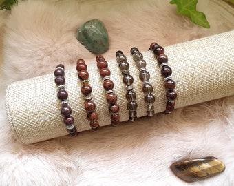 Macramé bracelet, Natural pearl bracelet, Poppy jasper, Mahogany obsidian, Smoky quartz, Bull's eye