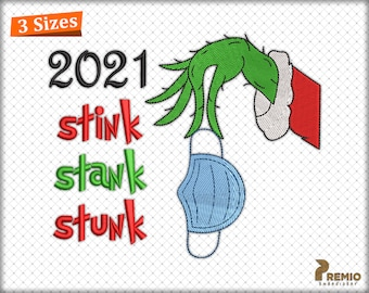 The Grinch Hand Embroidery Designs, Grinch Face Machine Embroidery Design,  Stink Stank Stunk  Grinch Embroidery Designs - Digital DOWNLOAD
