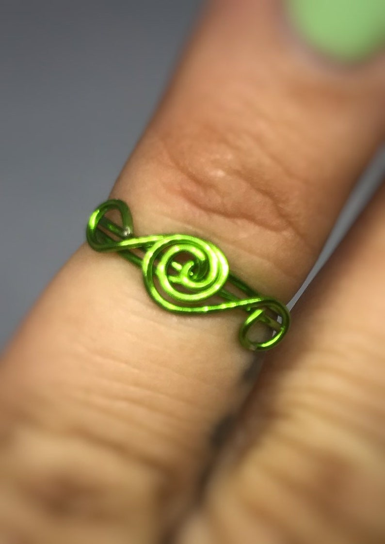 dainty ring green rings for women US size 4 green ring Copper wire ring women/'s ring simple ring minimalist ring