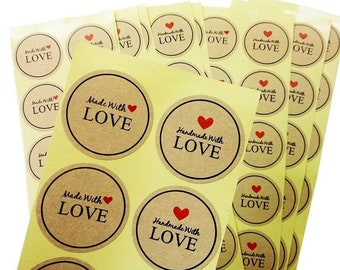 Round Paper Thank You Hand Made With Love Labels Stickers Gift Food Craft Box