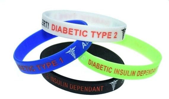 Le diabète de type 1 Insulin dependent Medical Alert Silicone Rubber Bracelet Bracel