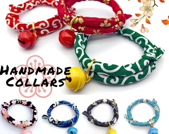 Handmade Traditional Japanese Style Kawaii Pet Collar | Sakura KarakusaCherry Blossom Cat Collar |  Unique Collar for kitten