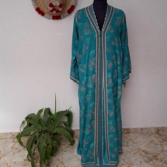 Moroccan Dress,Vintage 70s Handmade Moroccan Cafta