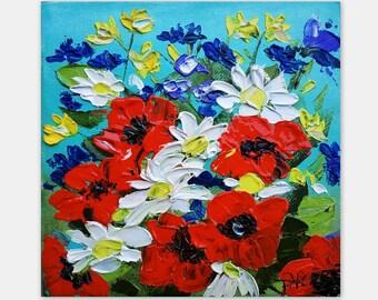 Poppies Painting Daisies Painting Original Artwork Floral Art Impasto Oil Painting Small Wall Art by TatianaARTshop