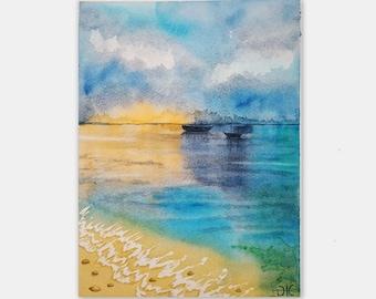 "Hawaii Painting Tropical Seascape Skyline Landscape Ocean Wall Art Watercolor Original Art 12 by 8"""