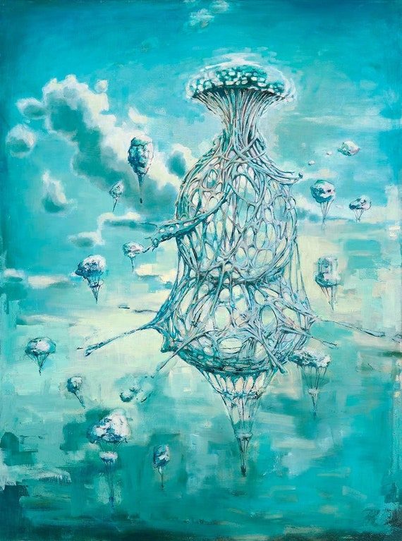 Blue Teal Surreal Sky Clouds Balloon Dreamscape Oil Painting Etsy