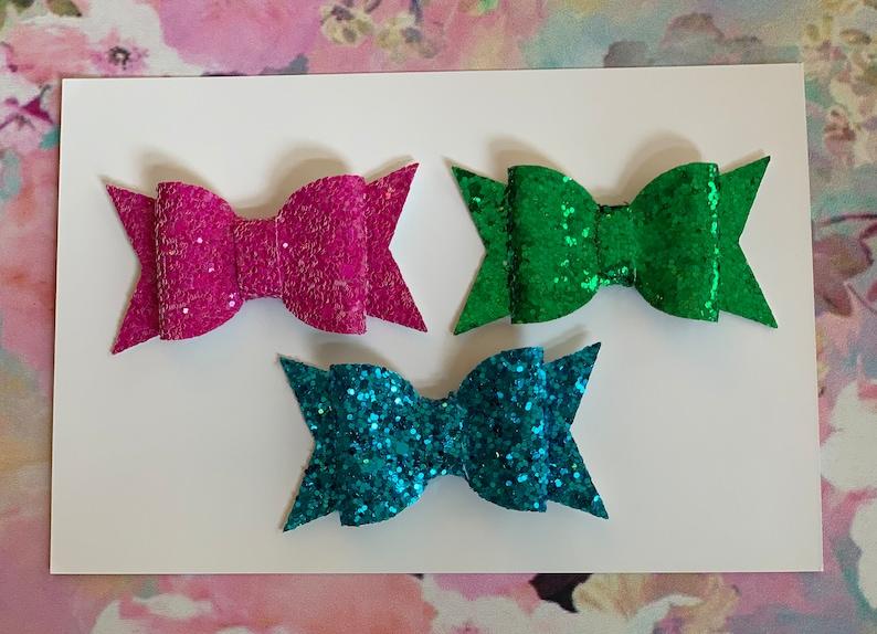 Hair Bows  Trio of Bows  Glitter Bows