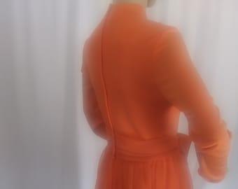 Vintage orange long sleeve mini dress