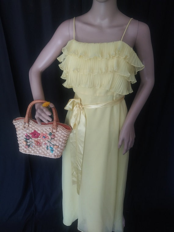 Vintage yellow dress with ruffles