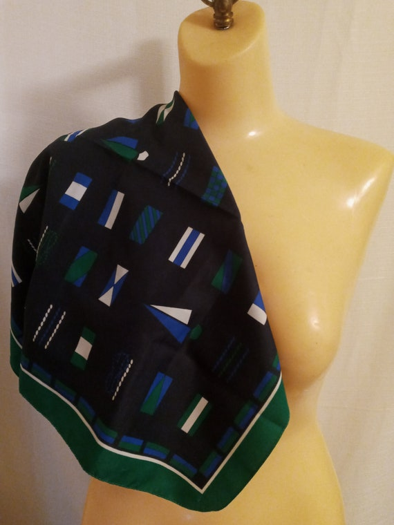 Vintage navy and green scarf