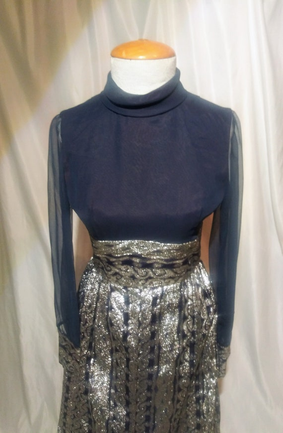 Vintage navy and silver lame' gown
