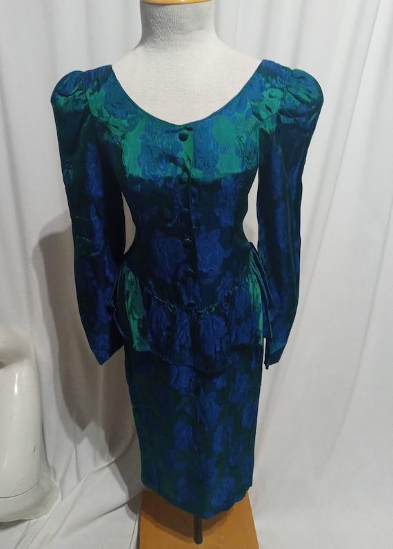 Vintage green and blue iridescent peplum dress