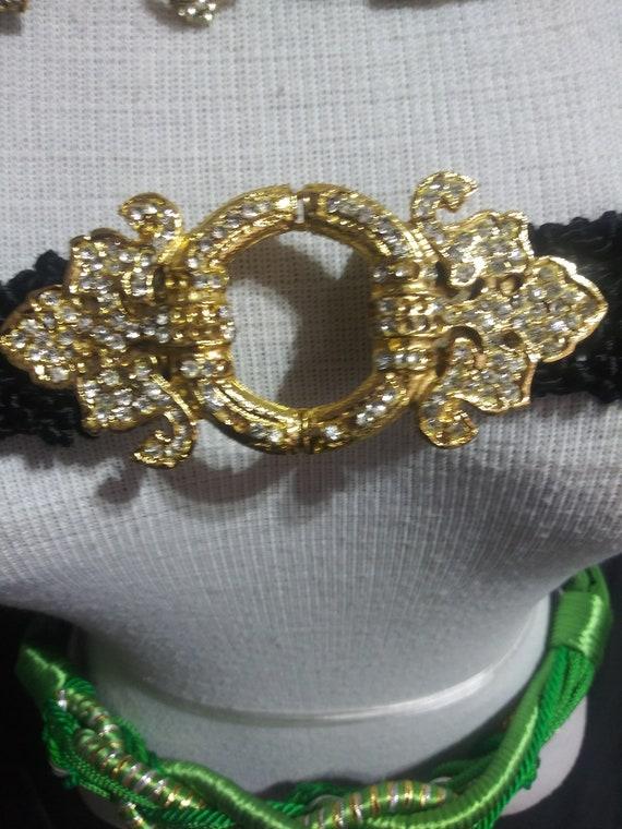 vintage black rope belt with jeweled gold buckle