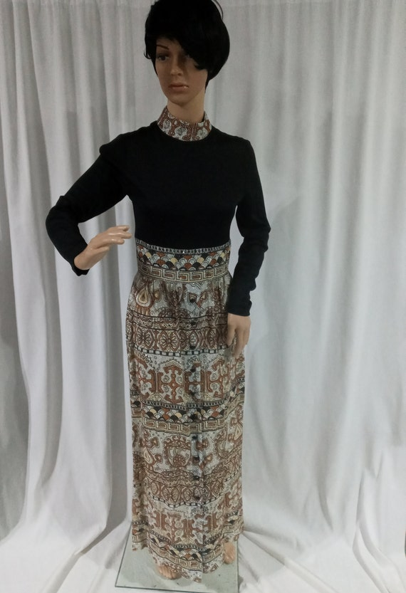 Vintage black, silver and copper lame dress
