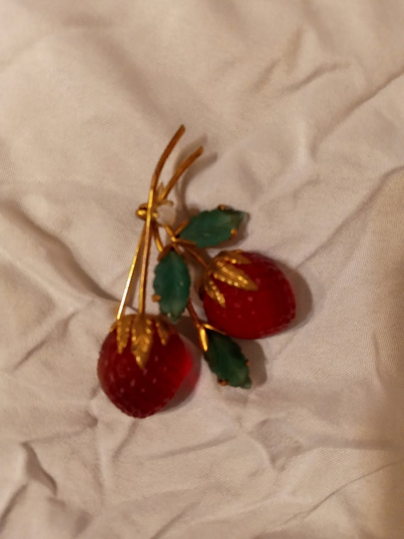 Vintage red strawberry austrian fruit pin