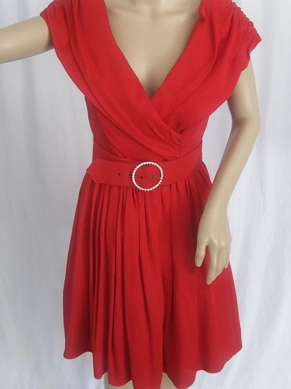 Vintage red off-shoulder cocktail dress