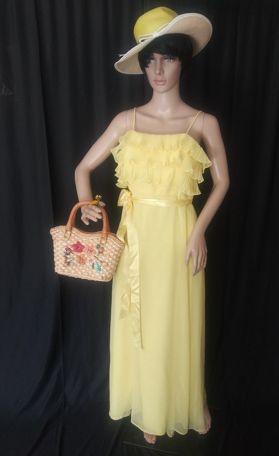 Vintage yellow dress with ruffles - image 2