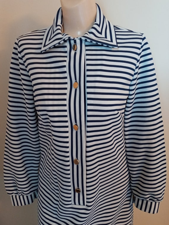 Vintage white and blue striped dress