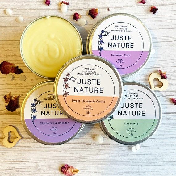 Set Of 4 All-In-One Moisturising Balms- For face, hands, body. Natural and Organic Balms Formulated for sensitive,dry/eczema prone skin.