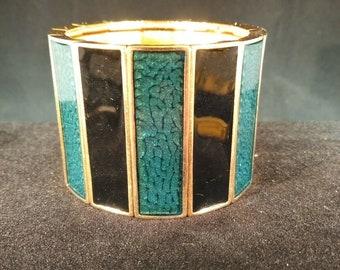 de0c5e4a1e2 YSL Yves Saint Laurent Black and Green Enamel Gold tone Signed Cuff Bracelet  Vintage