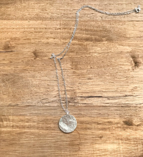 Handmade Silver and gold fill disc necklace with hammered delicate beads