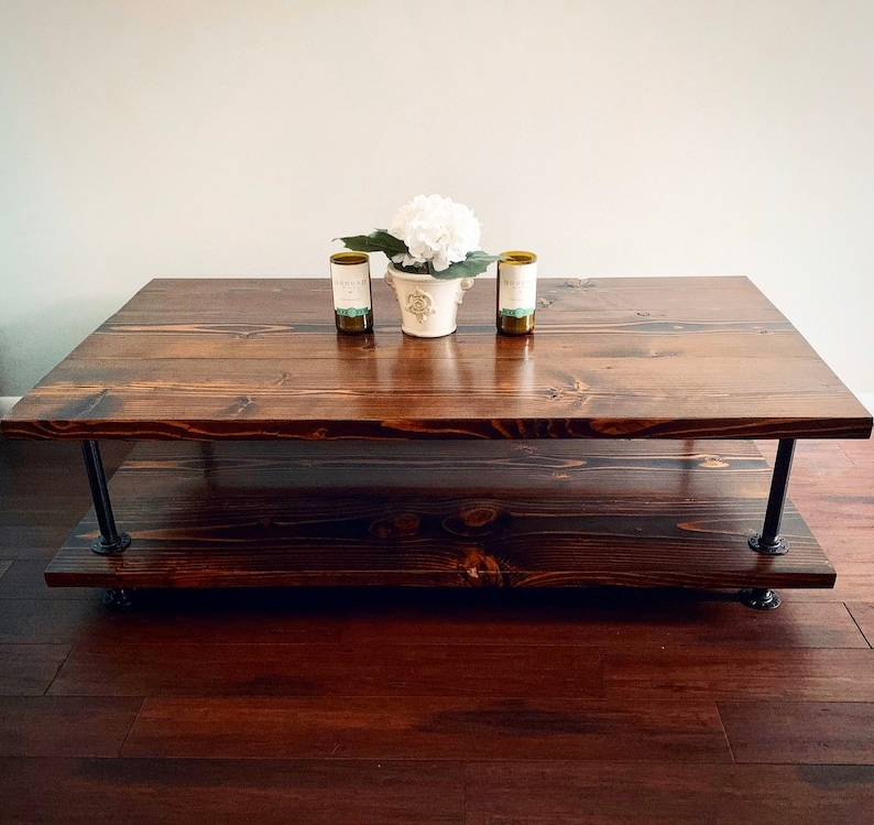 Square Coffee Table Industrial Dual Layered Rustic Design Etsy