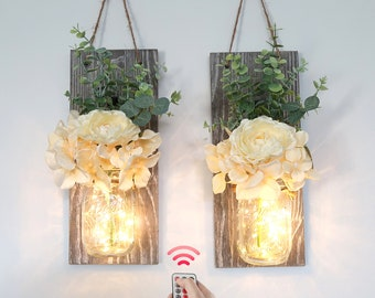 Large Wall Sconce Set of 2, Mason Jar Wall Decor, Lighted Sconce with Flowers,Distressed Wall Sconces,Farmhouse Wall Decor,Hanging Mason Jar