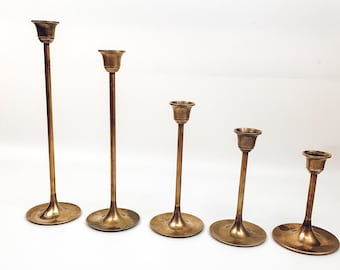 Large Brass Candle Holder with Handle Gold Metal Candlestick Vintage Boho Mid Century Modern Decor Candle Stick