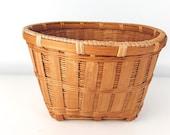 Vintage Wicker Boho Basket, Bohemian Basket Decor, Storage Organization, Waste Basket, MCM, Mid Century Modern, Planter Bin