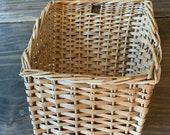 Vintage Wicker Boho Basket Woven Bohemian Basket Decor Wall Basket Hanging Basket Planter Basket Mid Century Modern Planter