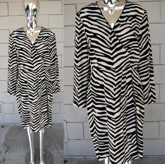 Adriana Papell Zebra Silk Dress