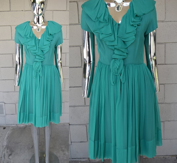 Miss Elliette Green Chiffon 1960s Dress