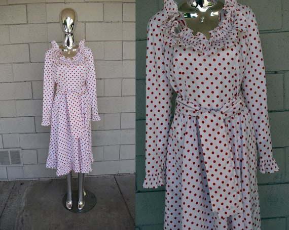 Victor Costa Romantic Polka Dot Dress