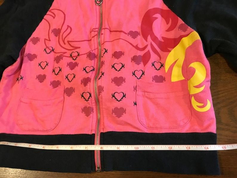 CANDIE\u2019S Pink and Black Love Heart breaker Lightweight Zip up Hooded Jacket Toddler/'s Size Medium.
