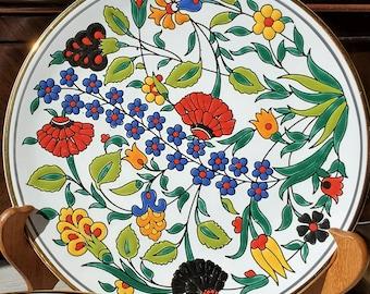 Colorful Greek Flower Print decorative plates Manousakis Keramik  Rodos Greece